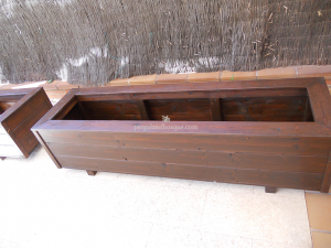 jardineras rectangulares hechas en madera para exterior