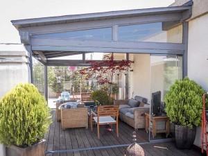 terraza con ceramiento acristalado para zona exterior