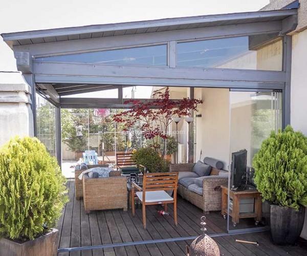 Cerramientos de terrazas en madera y aluminio cortinas de for Cerramiento aluminio terraza