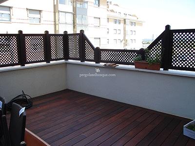celosías a medida en ático de Madrid, además del suelo con el mismo acabado